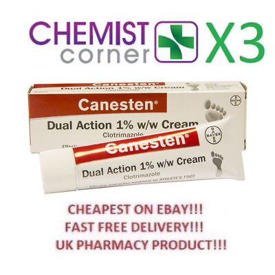 x3CANESTEN Athletes Foot & Jock Itch Dual Action Clotrimazole Cream Treatment15g