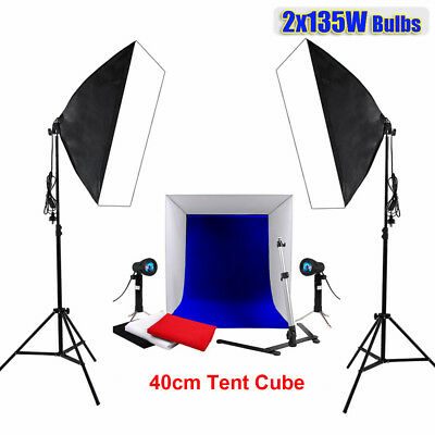 2x135W Photography Softbox Continuous Lighting Studio 40cm Light Tent Cube Kit