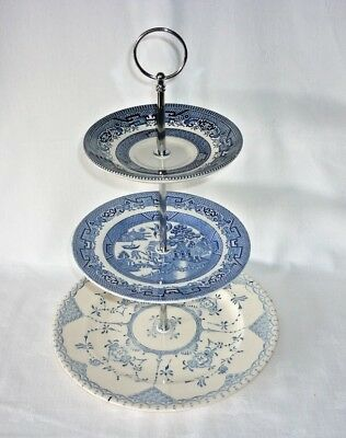 Pretty in Blue Vintage 3 Tier Cake Stand for High Tea, Weddings, Tea Shops