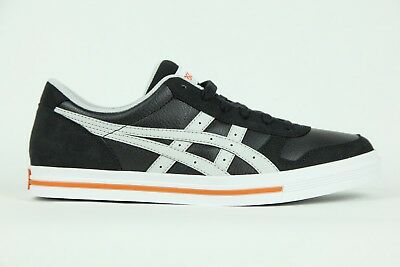 Mens Womens Asics Aaron HY526 9010 Lace Up Black White Casual Trainers