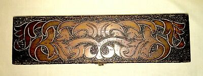Large Antique Art Nouveau Hand Pyrography Box - Signed - 16 Inches
