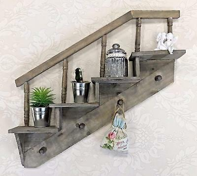 Wall Hanging Shelf Display Cabinet Unit Shabby Chic Vintage Rustic Style Hooks