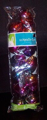 NEW 12 Metallic Colorful Plastic Fillable Easter Eggs Pre-drilled for HangingNIP