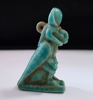 Egyptian Faience Glazed Hybrid Ram-Headed Winged Dwarf Amulet