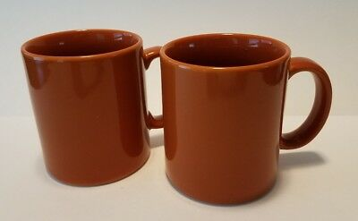 Pair of Anchor Hocking Bronze Copper Color Ceramic Coffee Cup Tea Mug