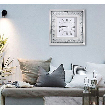Diamond Crystal Wall Clock Large Bevelled Mirror Glass Square Clock 50x50 cm