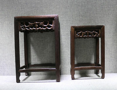 stand display pedestal wood carved new China 1 set 2 square rosewood wooden base