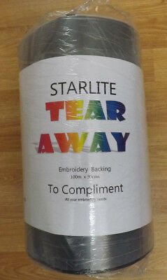 STARLITE TEAR AWAY EMBROIDERY BACKING PAPER (BLACK) - 100m x 30cms on Roll
