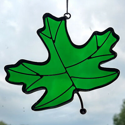 Stained Glass Green Maple Leaf Sun Catcher