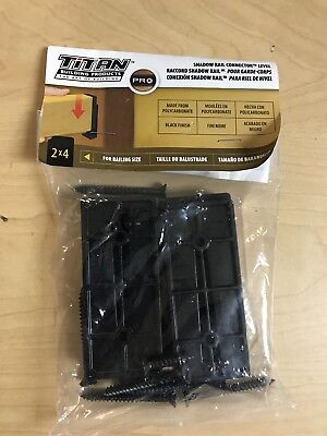 Titan TISR241BL SHADOW RAIL CONNECTOR LEVEL FOR RAILING 2X4 BLACK FINISH