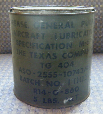 WWII Aircraft Lubricating M-675,The Texas Company TG 404, 5 lbs can