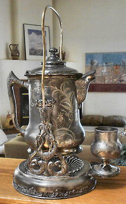 """Atq 1800s POOLE 1205 Slv Plate 19"""" Tall Ornate Tilt Water Pitcher wStand &Goblet"""