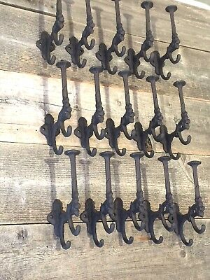 15 Rustic Cast Iron Coat Bath Hooks Ornate Victorian Large Hall Tree Wall Towel