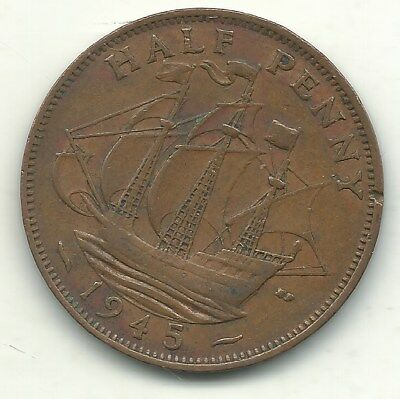 Higher Grade 1945 Great Britain English 1/2 Half Penny Cent-Agt102