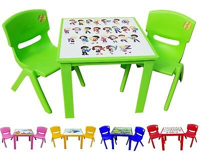 Childrens Kids Plastic Table and Chairs  Nursery Sets Outdoor Tea Set Strong