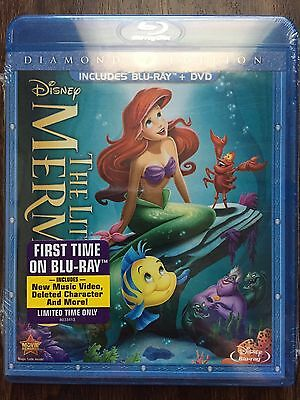 New Disney The Little Mermaid Blu-ray DVD 2013 2-Disc Set Diamond Edition