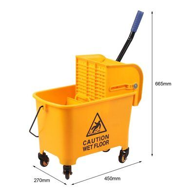 Industrial Plastic Mop Bucket & Wringer 20L 360degree Rotation Wheel Yellow UK