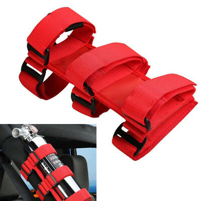 1pc Red Car SUV Roll Bar Fire Extinguisher Holder Nylon Emergency Accessory Belt