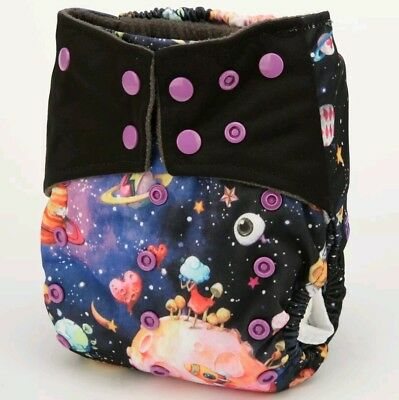 Silly Space Bamboo Charcoal Cloth Diaper Nappy Reusable Double Gussets AI2