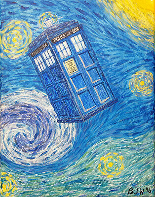 Tardis Starry Night space acrylic painting Print blue yellow 11 x 14 inches