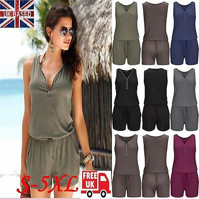 Plus Size 6-24 Womens Zip Neck Pocket Playsuit Ladies Summer Shorts Jumpsuit UK