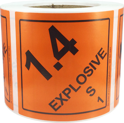 Hazard Class 1 D.O.T. Explosives 1.4S Hazmat Labels 4x4 Inch 500 Adhesive Labels