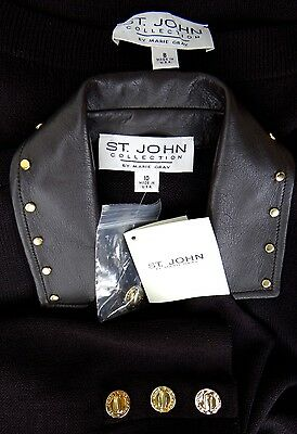 ST JOHN COLLECTION Pant Suit SIZE 8 10 Espresso Brown NWT NEW Santana Knits Coat