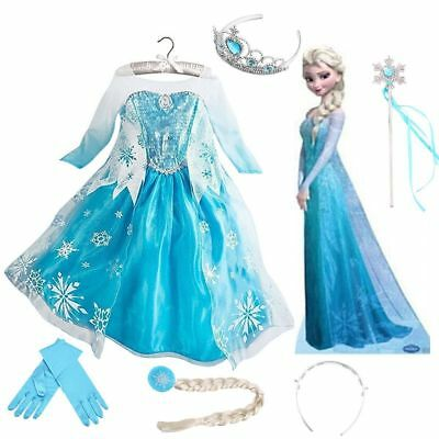 Girls Child Frozen Princess Queen Elsa Cosplay Costume Party Fancy Dress Up New