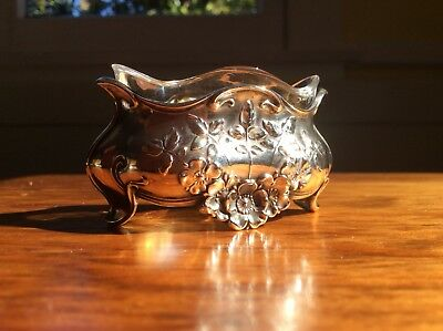 French Nouveau Sterling Silver Salt Dip Caviar Dish Albert Deflon Wild Rose Old