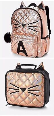 NWT Justice Gold Cat Quilted Style-Letter ~A Backpack Lunch Tote Back To School
