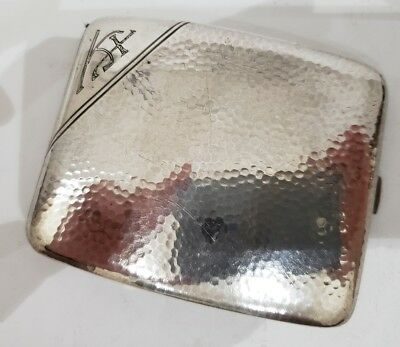 VINTAGE ANTIQUE SOLID STERLING SILVER HAMMERED & CURVED CIGARETTE CASE / 122g