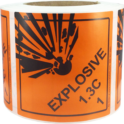 Hazard Class 1 D.O.T. Explosives 1.3C Hazmat Labels 4x4 Inch 500 Adhesive Labels