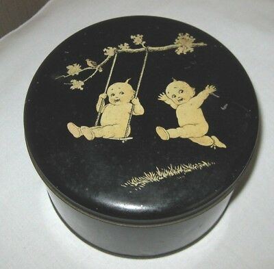 Cupie Doll Tin Powder Box Swinging Swing Cupid Children Babies