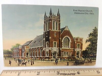 1912 Vintage Postcard, First Baptst Church, Oklahoma City, 1 Cent Franklin Stamp
