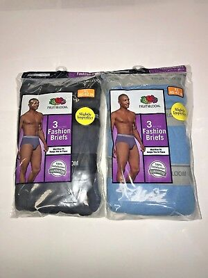FRUIT of the LOOM BRIEFS 6 PACK TAG FREE assorted colors