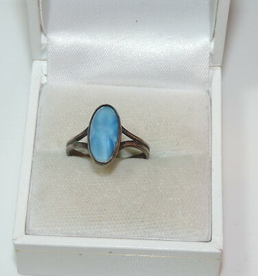 Dainty Vintage Art Deco Blue Glass Stone Silver sz 6.25 Ring 3c 98