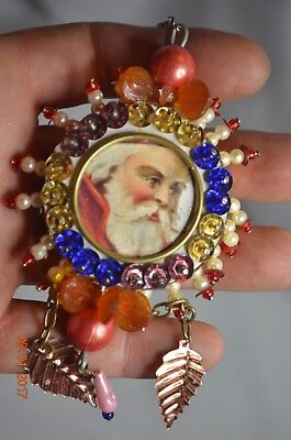 Vintage Victorian Santa Christmas Ornament Beaded 2 sided
