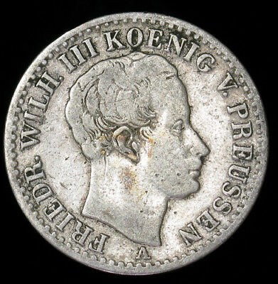 1826-A German States PRUSSIA 1/6 Thaler KM# 411 silver coin