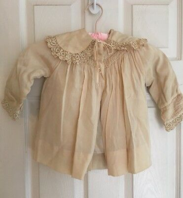 ANTIQUE vintage Victorian baby / DOLL jacket Ivory organdy LACE Collar &cuff