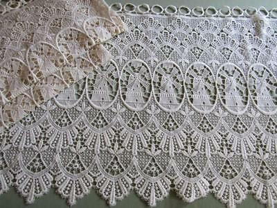 3 Pieces Vintage Cottage Lace Curtain Panel Fabric WINDMILLS Ivory Cafe Curtains