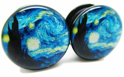 A Starry Night Ear Plugs - Acrylic Double Flared Screw-On - 8 Sizes - Van Gogh