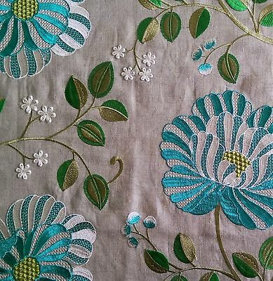 "MANUEL CANOVAS WOVEN /EMBROIDERED FLORAL FABRIC REMNANT16.5"" x  17.5"" Turquoise"
