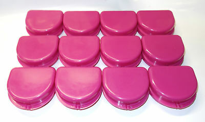 12 Dental Orthodontic Retainer Denture Mouth Guard Case Bleach - Cranberry