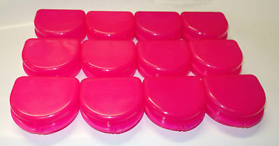 12 Dental Orthodontic Retainer Denture Mouth Guard Case Bleach - Mega Pink