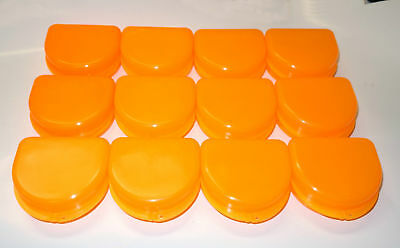 12 Dental Orthodontic Retainer Denture Mouth Guard Case Bleach - Tangerine