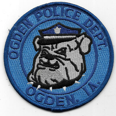 Police Patch: Ogden Police Dept, Ogden, Iowa, Ia Bulldog Measures 3 1/2""
