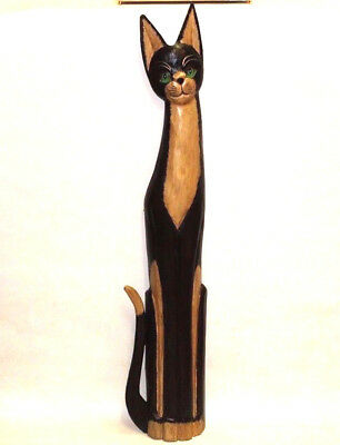 """Beautiful Unique Good Gift XLg Wooden Hand Carved Painted Cat Statue 31"""" Tall"""