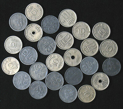 Lot of 26 Norway 10 Ore Øre 1925-1957