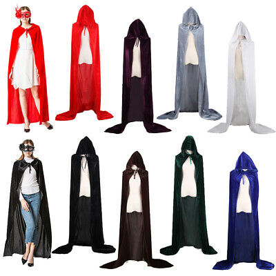 Adult Kids Unisex Gothic Hooded Velvet Cloak Cape Robe Medieval Cosplay Costume