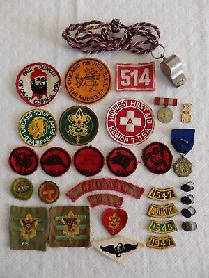 Boy Scout Lot Boy Scouts of America Lot Boy Scout Badges Patches Whistle -1940s